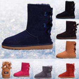 2019 botas de invierno mujer corta Botas de invierno 2019 WGG Australia Botas de nieve clásicas WGG botas altas altas Bailey Bowknot de cuero real para mujer Mantenga el tamaño cálido 36-41 botas de invierno mujer corta baratos