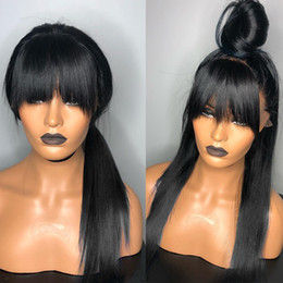 Perucas pretas franja on-line-12-26inch reta de seda Jet Black cabelo humano peruca cheia do laço com franja Pré arrancado com o cabelo do bebê 130% Densidade parte dianteira do laço peruca Nós descorados