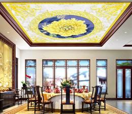 2019 chinesische wandschnitzereien 3D Decke Tapete Europäischen Stil Benutzerdefinierte Marmor Wohnzimmer Schlafzimmer Home Decor 3D Decke Wandbilder Tapeten