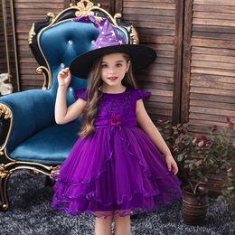Grandes trajes de chapéu on-line-2019 Máscara Halloween Party Girl Dress Todos os Santos Dia das meninas vestidos com grandes Witch Chapéus