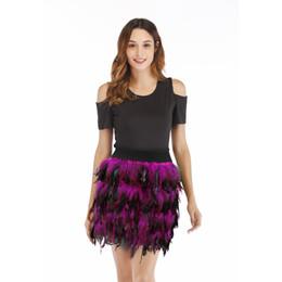 Павлиньи перья для костюма онлайн-Костюм джазового танца европейской и американской роскоши с павлиньим пером сценическое платье уличный стиль нерегулярная юбка