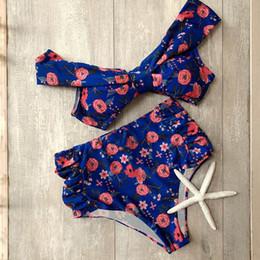 2019 bandeau floreale Stampa floreale a vita alta Bikini imposta donna Sexy Bandeau Push Up Due pezzi costumi da bagno 2019 Beach Girl Costume da bagno bandeau floreale economici