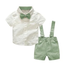 infant baby overall Promo Codes - Baby Boy Clothing Set 2018 New Summer Infant Boys Clothes Tie Shirts+Overalls 2PCS Outfit Sets Bebes Gentlemen Suit