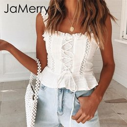 top camisola volante Rebajas Jamerry Vintage Sexy White Lace Women Tank Tops Correa Ruffle Crop Top Camis Mujer Verano Hollow Out Lace Up Camisole Tops 2019 Q190513