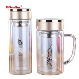 2019 botellas de agua directas deportivas Nueva doble pared de vidrio taza de té Botellas vaso de cristal con las bebidas alcohólicas, café olla de taza de té taza de té de agua, Botella de agua tazas Frasco T200102