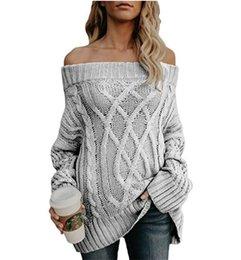Maglioni di lino online-HOT nuove donne maglione autunno e inverno caldo e ispessita biancheria filo grosso aperta dalle spalle vestito dalla ragazza di lana