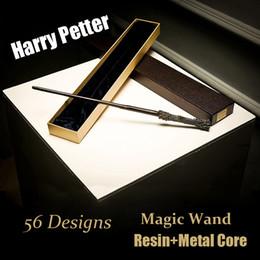 Scatola di ferri di potter harry online-Harry Potter Cosplay Toys 56 Disegni Harry Potter Metal Core Bacchetta magica Con scatola regalo Giocattoli per bambini Regalo di Natale per bambini SS87