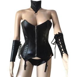 hals korsett kragen Rabatt Weibliche Sexy Bandage Schwarz PU Leder Front Zip Over Bust Bustier Korsett Kragen Handschuhe Gothic Punk Frauen Fetisch Wear Kostüm