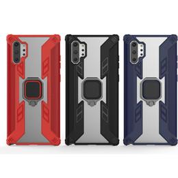 Shockpoof Hybrid Case Pour Samsung Galaxy Note10 Pro Note 10 Dur PC + TPU Titulaire De La Bague En Métal Titulaire Stand Antichoc Double Couleur Peau Couverture ? partir de fabricateur