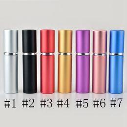 2019 großhandel kleine pille container Parfüm-Flasche 5ml Aluminium eloxiert Compact Parfüm Rasierwasser Atomiser Atomizer Duftglas Duft-Flasche Mischfarbe EEA840