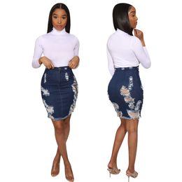 kleider plus größe jeans Rabatt Frauen-Designer zerrissene Denim-Röcke dehnbar kurze Jeans Kleider bodycon sexy Sommerkleidung kurzen Rock aushöhlen plus Größe S-2XL Kleid 89