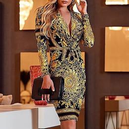 mulheres de nylon vestido sexy Desconto Moda feminina Floral Party Dress Sexy V Neck Manga Comprida Bodycon Vestidos Sexy Vestido Acima Do Joelho, Mini