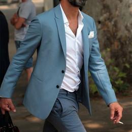 Canada Mode Élégant Bleu Hommes Costume Gris Pantalon De Mariage Sur La Plage De smoking Personnalisé Jeunes Hommes Costumes Décontractés Usure Robe (Veste + Pantalon) Offre