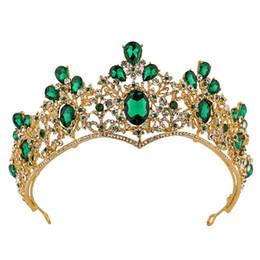 2019 vestidos de casamento dos miúdos china Ouro / Verde de Cristal Tiaras Meninas Cabeça Peças Coroas para a Festa de Aniversário do Pageant Strass Brilhante Diamante Princesa Coroas Crianças Acessórios