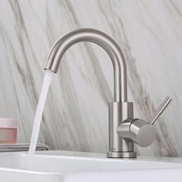 Faucet baixo on-line-304 lavatório rotativo de um único orifício em aço inoxidável, lavatório, mesa da bacia de cerâmica, torneira de lavatório inferior