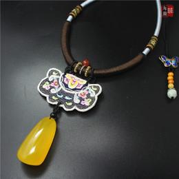 Envío gratuito hecho a mano chino bordado de la flor mujeres síntesis Beewax colgante collar étnico de la vendimia exquisita personalidad chocker desde fabricantes