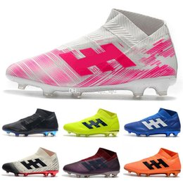 2019 nuevos listones de fútbol para hombre x 18 FG botas de fútbol zapatos de fútbol al aire libre sin cordones Purespeed exterior scarpe da calcio