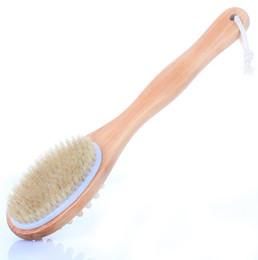 2019 scrub arancione Spazzola per la schiena e setole in legno con setole naturali Spazzola per il corpo in legno e spazzole con manico lungo Spazzole per la pelle esfoliante H228