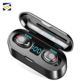 Banco de potencia digital led online-F9 TWS Auriculares inalámbricos LED Digital Display Bluetooth V5.0 Auriculares Bluetooth para auriculares de la nave con 2000mAh Banco de alimentación del receptor de cabeza de DHL