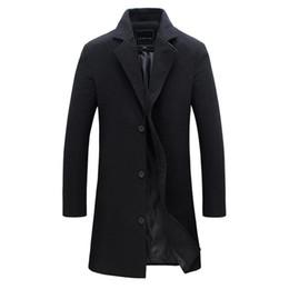 Abrigo informal de negocios online-2018 hombres de la manera Abrigo de lana caliente del invierno de color sólido a largo chaqueta del foso masculino solo pecho Business Casual Abrigo Parka