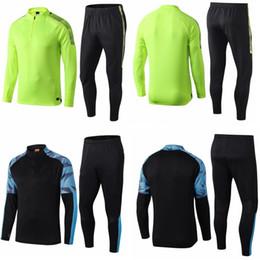 20 survêtement Fußball manchester Anzüge gesetzt Langarm Designer Anzug grün schwarz Stadt Fußballtrainingsanzug Kits Joggen a20148