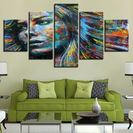 flowers posters canvas Coupons - colorful Flower woman lady 5 Pcs Combinations HD Unframed Canvas Painting Wall Decoration Printed Oil Painting poster