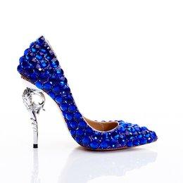 Zapatos personalizados de la boda online-Zapatos de cristal Cinderella Lady Bombas Tacones finos Punta estrecha Música Concierto Banquete Regalo personalizado Zapatos de boda Princesa