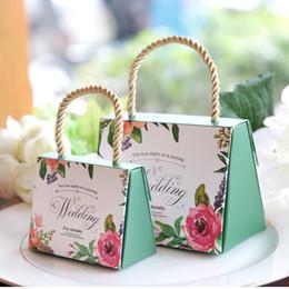Scatole regalo per il cibo online-Candy Wedding Sweet Box Flower Souvenir Snack Food Gift Boxes Verde verde cartaceo Portatile pratico reticolo creativo 0 78mhD1