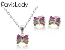 2019 anel de esmeralda africano Pavislady Real 925 Sterling Silver Geométrica Borboleta Conjunto Com Mix Color Fine Jewelry em Qualidade Perfeita Para As Mulheres Presente Na Moda