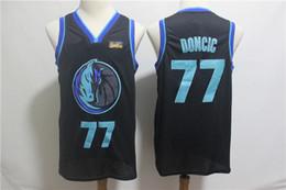 Neue Qualität 2018 für 41 # Dirk Nowitzki Mens-Ausweg Jersey Nowitzki 77 # Luka Doncic Basketball Jerseys weiße blaue Hemden freies Verschiffen von Fabrikanten