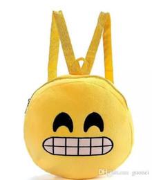 Niza Qq Expresión Emoji Smiley Tela de algodón Niños Mochilas escolares Redondos Amarillo Mochila de Felpa Niños Juguete de Felpa Nylon Regalo de Navidad desde fabricantes