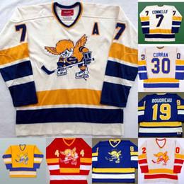 Camisetas de hockey carlson online-Mens Minnesota Fighting Saints Jersey 10 TED HAMPSON 14 DAVE KEON 19 BRUCE BOUDREAU 20 JACK CARLSON 35 JOHN GARRETT Retro Hockey Jerseys