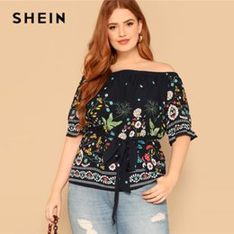 a7be1b60a76593 SHEIN Navy Boho Plus Size Off Shoulder Botanical Belted Floral Blouse Women  2019 Summer Casual Half Sleeve Top Blouses