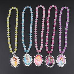 pulseiras com miçangas Desconto 2019 2 pçs / set new baby colar meninas acessórios de moda infantil colar de pérolas infantil colar pulseira conjunto pingente de jóias frisado
