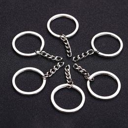 Pulido de color plata 30 mm llavero llavero anillo dividido con cadena corta llaveros mujeres hombres diy llaveros accesorios 10 unids desde fabricantes