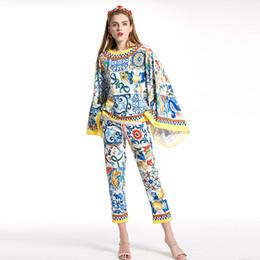 Canada Haute Qualité 2019 Nouvelle piste Imprimer Batwing Manches Top + Pantalon Ensembles Designer Femmes Deux Pièce Pantalon Bureau Dames Costumes XXL Offre