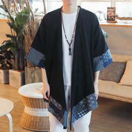cardigan aperto di kimono Sconti Cardigan Kimono giapponese Open Stitch Uomo tradizionale Kimono Cardigan Plus Size Long Kimono Jacket Men