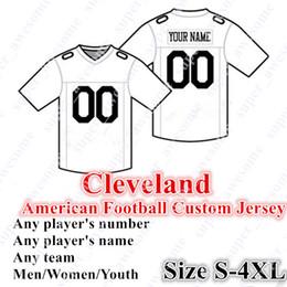 Jerseys de fútbol cosido online-CUSTOM Cleveland American Football Jerseys personalizados cosidos en cualquier nombre Cualquier número Tamaño S- 4XL Mezclar orden Hombres Mujeres Juvenil cosido