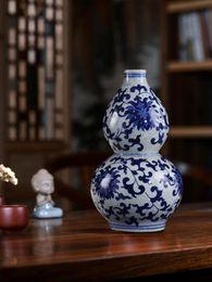 Vase bleu chinois en Ligne-Jingdezhen Chinois Traditionnel Bleu Et Blanc Vase Gourd En Forme De Vase Maison Ornement Glace Fissures Motif