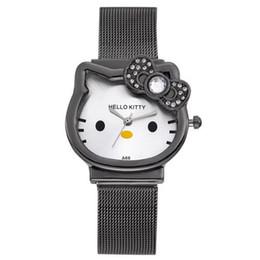 Kinder Nette Hallo Kitty Babe Uhr KT Cat Dial Edelstahl Band Luxus Gold Diamant Uhren Cartoon Kinder Rejores von Fabrikanten
