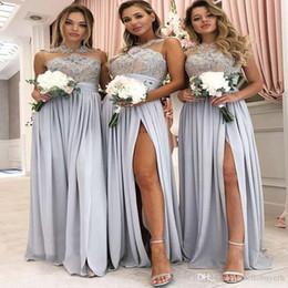 2019 недорогие свадебные платья для беременных Сексуальная Дешевые Линии Шифон Плюс Размер Небесно-Голубой Платья Невесты Длинные Сплит Фронт 2019 Африканский Нигерийский Кружева Платья Фрейлины