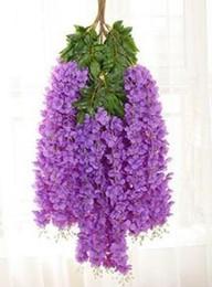 Wisteria vine plants en Ligne-Élégant Wisteria Vines Avec Plantation Dense Wisteria Fleurs Et Rayonne Fleur Vignes Décorer Le Mariage Jardin Home Party EEA40