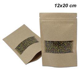Canada 12x20 cm Brown Zip Lock Craft Paper Zipper Clear Window Sac d'emballage pour Snack Spices Stand Up Kraft papier refermable encoche de déchirement Offre