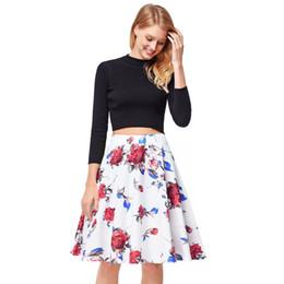 Плиссированные атласные юбки онлайн-Satin Floral Pleated Skirts Audrey Hepburn Style High Waist A-Line tutu Midi Skirt