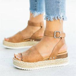 Tongs chaussures haute plateforme en Ligne-Chaussures Compensées Pour Femmes Sandales Plus La Taille Talons Hauts Chaussures D'été 2019 Flip Flop Chaussures Femme Plateforme Sandales
