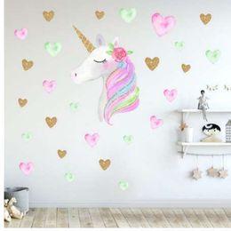 arte de pared de plástico de mariposa Rebajas Dibujos animados Lindos Unicornios Estrella Corazón Pegatinas de Pared de Estilo Nórdico Kids Room Living Room DIY Home Tatuajes de Pared etiqueta