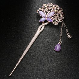 Horquillas de mariposa vintage online-1 Unids Vintage Mujeres Hair Stick High Colorful Mujeres Retro Crystal Butterfly Flower Hairpins Hair Stick Clip Accesorios