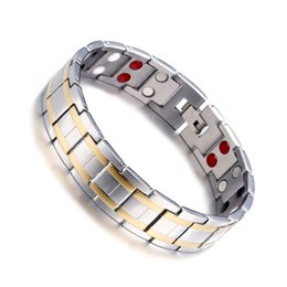 Gold energie online-20.5CM Gold $ Silver Color Mens Armbänder Edelstahl Gesunde magnetische Energie Armbänder Dropshipping