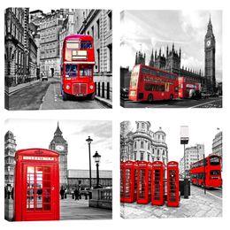 marco de londres Rebajas Impresiones de lienzo Red London Bus Cabina telefónica Imagen Negro y blanco London Street View Wall Art Paintings estirado enmarcado para la decoración del hogar