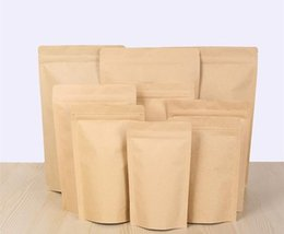 1000pcs cremallera Brown Kraft aluminizing la bolsa, levántese el papel de aluminio del papel de Kraft bolsa de cierre hermético de la cremallera del sello del apretón de la comida al por mayor DHL desde fabricantes